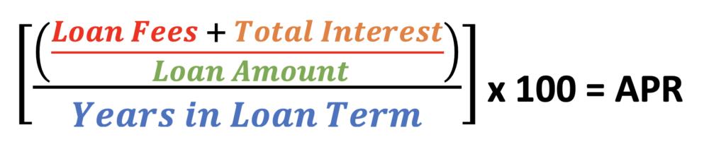 ((Loan Fees + Total Interest) / Loan Amount) / Years in Loan Term x 100 = APR formula