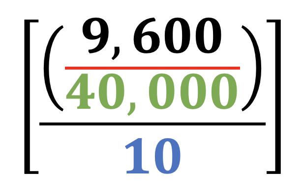 (9,600 / 40,000) / 10