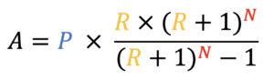 A=P*((R*(R+1)^N)/((R+1)^N)-1)