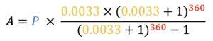 A=P*((0.0033*(0.0033+1)^360)/((0.0033+1)^360)-1)