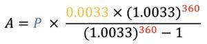 A=P*((0.0033*(1.0033)^360)/((1.0033)^360)-1)