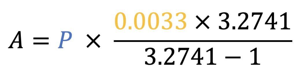 A=P*((0.0033*3.2741)/(3.2741-1))