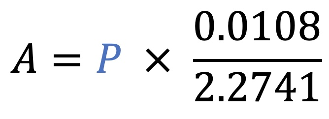 A=P*(.0108/2.2741)