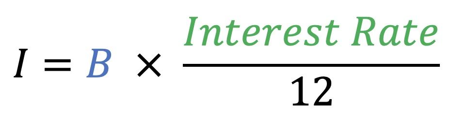 I=B*(Interest rate/12)