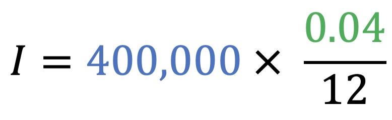 I=400,000*(0.04/12)