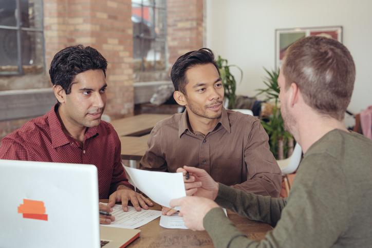 Couple getting advice jumbo loan